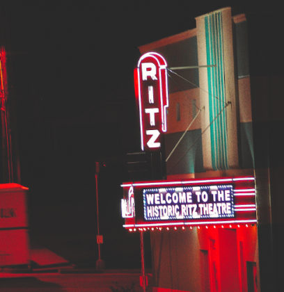 The Ritz Theatre's marquee lights up Doyle Street in downtown Toccoa
