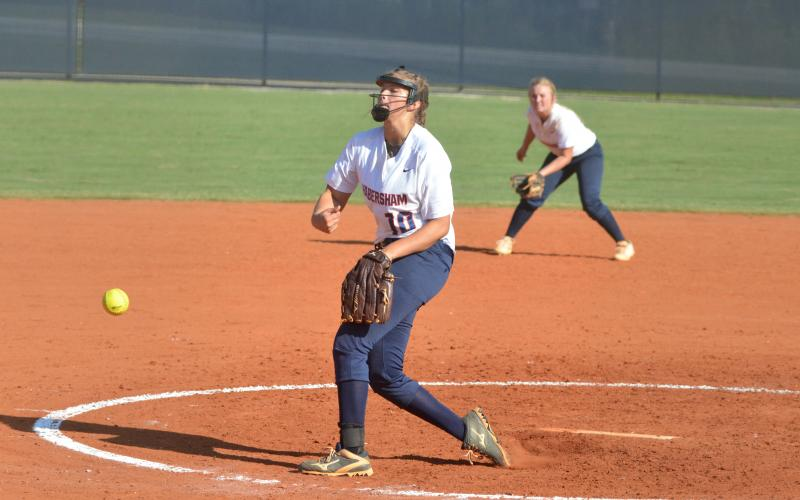 HCHS's Kyla Quiles throws a pitch during a game against Stephens County High School Friday.