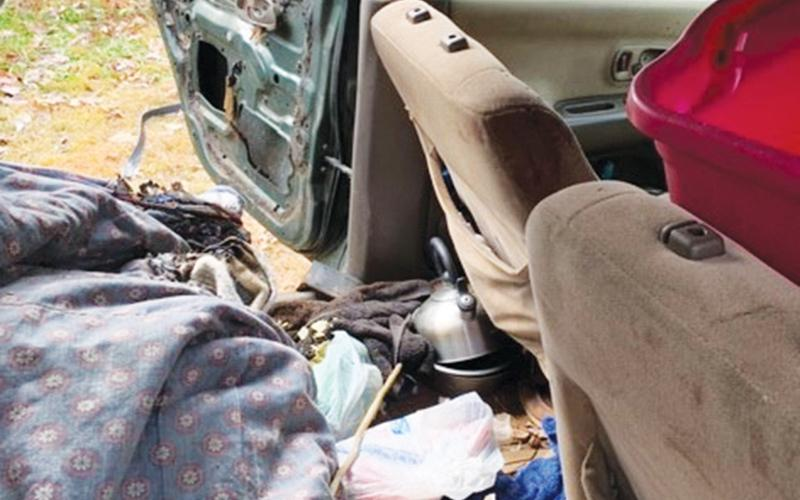 Photo courtesy of Habersham County The inside of the car that burned near Little Faith Lane on Wednesday was badly damaged, and the man had to be flown out with burns.