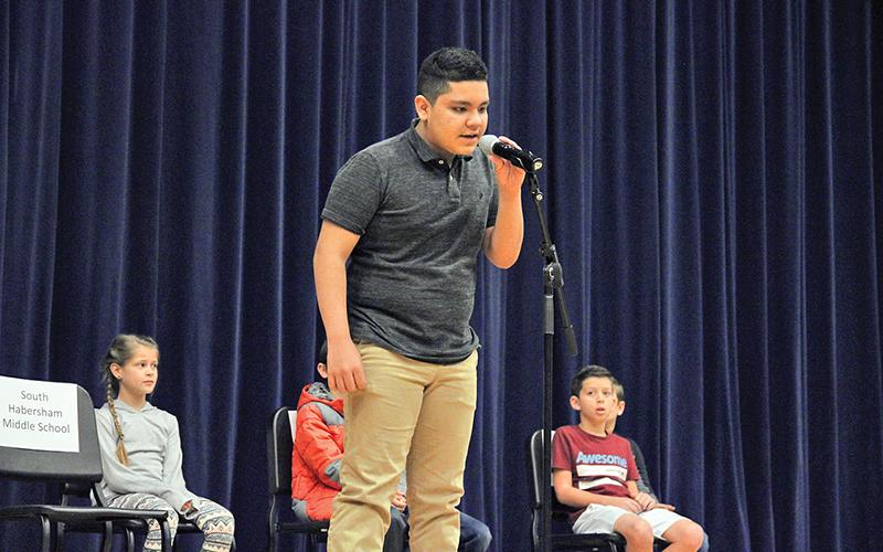 "South Habersham Middle School seventh grader Richard Navarro spelled ""throttle"" to win the Habersham County spelling bee."