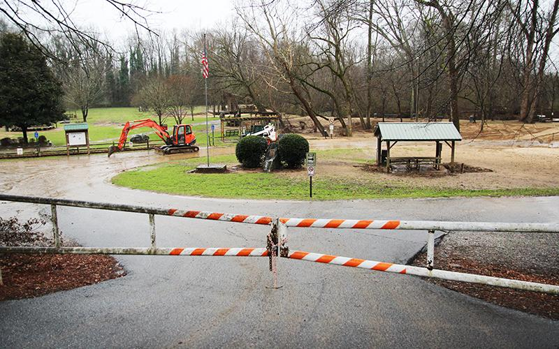 Pitts Park in Clarkesville has seen some damage during the recent weeks of wet weather.