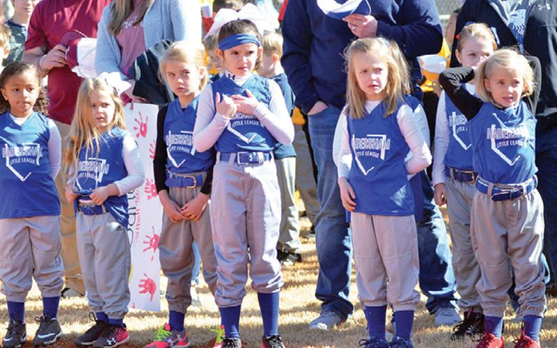 Habersham County Little Leaguers recite the Little League pledge at last year's  Opening Day.