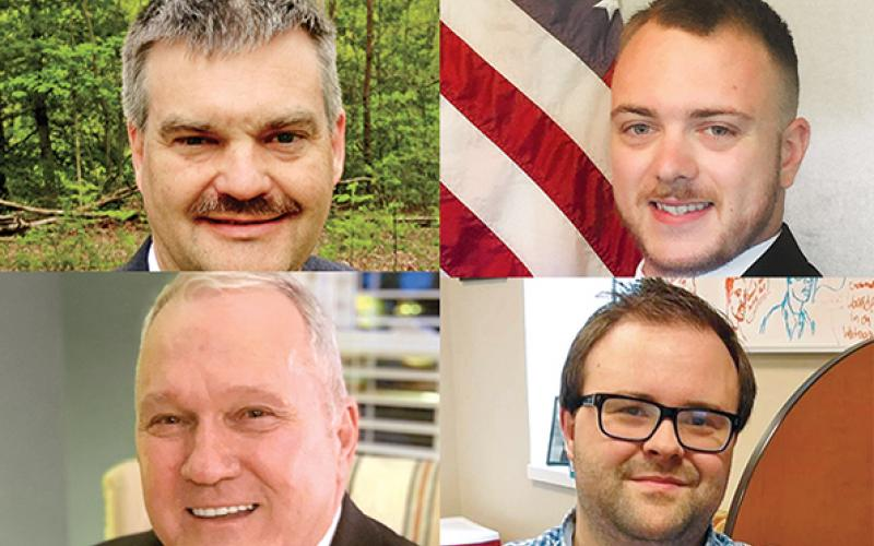 Candidates for the District 10 House seat are (clockwise from top left) Victor Anderson, Robert Crumley, Nick Mitchell and Jimmy Dean.