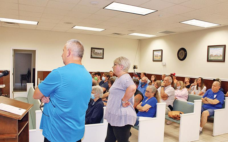 It looked like old times in Baldwin on Monday night, as local residents returned to public meeting mode in force.