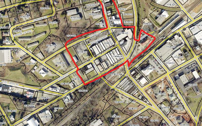 The marked area is where the entertainment district in Cornelia could be.