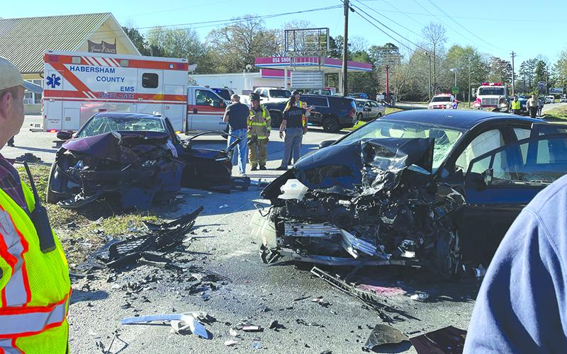 Two cars hit head on Monday morning on Historic Highway 441 in Clarkesville, causing the death of a 5-year-old child. Photo courtesy of Habersham County Emergency Services