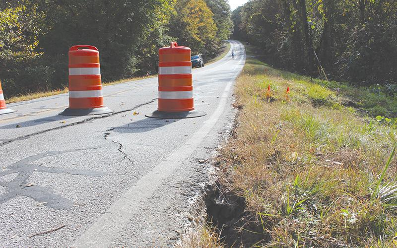 New Liberty Road sunk in and cracked under the pressure of the Oct. 10 flooding throughout Habersham County. Photo by ISAIAH SMITH/Staff