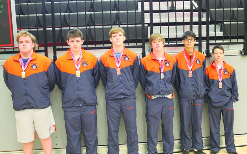 Six Raider wrestlers brought home top-four finishes at the Stephens County Arrowhead Classic in December. Pictured are (from left) Lukas Ricci (1st, 285-pound weight class), Dalton King (1st, 220-pound weight class), Colby Watson (3rd, 170-pound weight class), Eli Pilgrim (2nd, 145-pound weight class), Max Fierro (4th, 113-pound weight class) and Zachary Chitwood (2nd, 106-pound weight class).