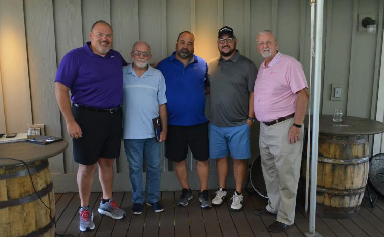 Shown, from left, are 2019 Habersham County Football Ring of Honor inductees Stacy Ivester, Dexter Pratchard, Joel Patrum, Brandon Patrum and Arnold Meeks at The Orchard Golf and Country Club in Clarkesville Tuesday.