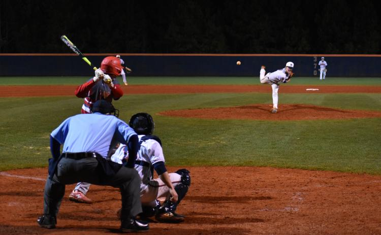 Habersham Central's Rhett Addis throws a pitch during the Raiders' 4-0 win over Madison County High School Wednesday.