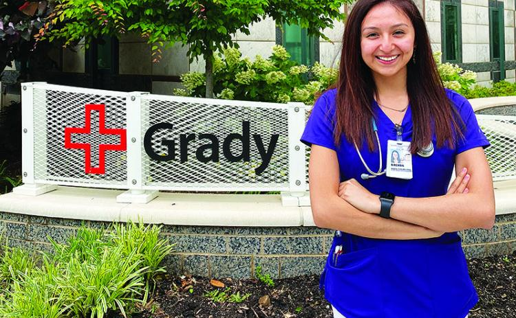 Brendalin Garduño Leónides, DACA recipient, offers her services working on the front line as a nursing student at Grady Memorial Hospital.