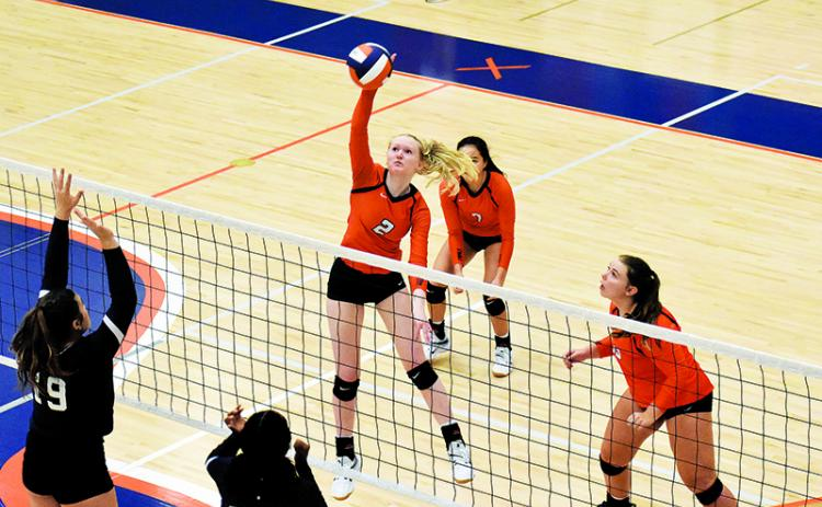 Habersham Central's Molly Butler goes for a spike against Lumpkin County.