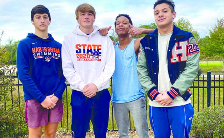 Habersham Central swimmers (from left) Matt Cochran, Haydn Tatum, Obed Miranda Harrigan, and Josh Martinez have already qualified for state after the first swim meet of the season.
