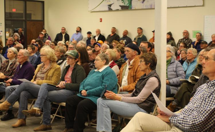 Megan Broome/The Clayton Tribune. Over 150 people turned out for a public forum on proposed changes in management and policy that would affect thousands of acres of National Forest Service land in Rabun County.